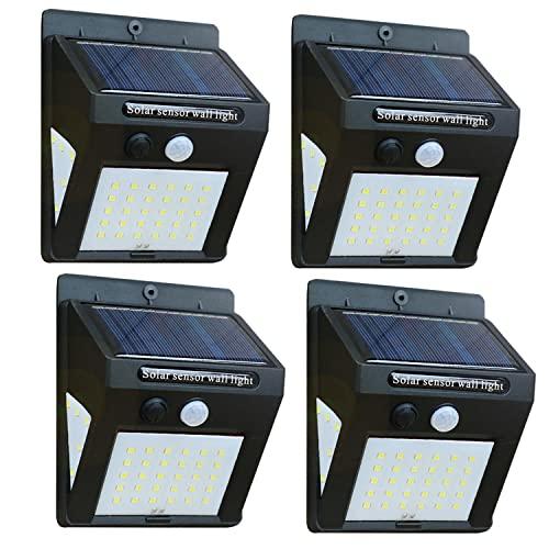 4 lampade solari da esterno con sensore di movimento, 40 LED, colore nero, per giardino, a risparmio energetico, a energia solare (4 pezzi)