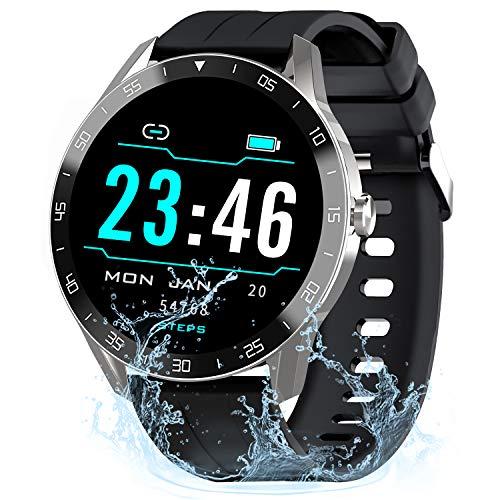 Gretel Smartwatch Uomo Orologio Fitness Tracker Ragazzi con 9 Modalità di Allenamento, Frequenza Cardiaca, Impermeabil Cronometro iOS, Sonno, Contapassi, Rotondo Smartwatch Huawei Samsung Argento