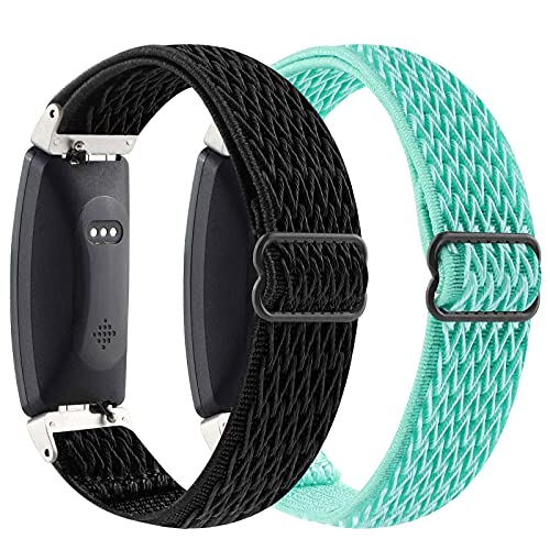 【2Pack】 Elastic Watch Band Compatible with Fitbit Inspire 2/ Inspire/Inspire HR,Woven Soft Nylon Sport Breathable Wristband Replacement Women Men for Fitbit Inspire (Ocean Green-Black)