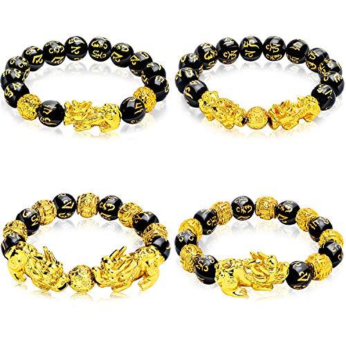 Hicarer 4 Stücke Armbänder Mantra Amulett Perlen Armbänder mit Vergoldeten Pi Xiu/Pi Yao und Kupfermünzen Perlen Armbänder für viel Glück Reichtum