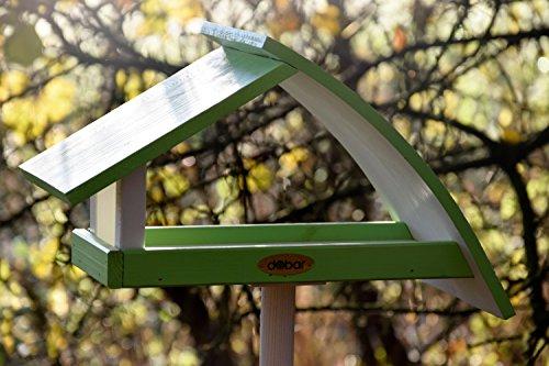"""Luxus-Vogelhaus 31014e Design Vogelhaus """"New Wave"""" aus Holz (Kiefer) für Garten, Balkon, mit Ständer, Schrägdach, Farbe: weiߟ-grün – Vogelhäuschen Vogel-Futterhaus - 4"""