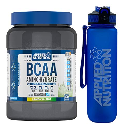 Applied Nutrition Bundle BCAA Amino Hydrate Powder 1.4kg + Lifestyle Water Bottle 1000ml | Branched Chain Amino Acids Supplement, Electrolytes, B Vits, Intra Workout & Recovery Drink (Lemon & Lime)