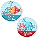 Polarkind 2 Set Button Pin Anstecker Meer Schulkind 2020 Geschenk zum Schulanfang für Schultüte Zuckertüte 59mm Handmade Unisex
