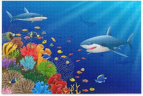 Bambini di età 500 PZ Squalo Jigsaw Puzzle Animale per Bambini Adulti, Gioco educativo intellettuale Apprendimento Decompressione, Progetto artistico per la decorazione della parete di casa