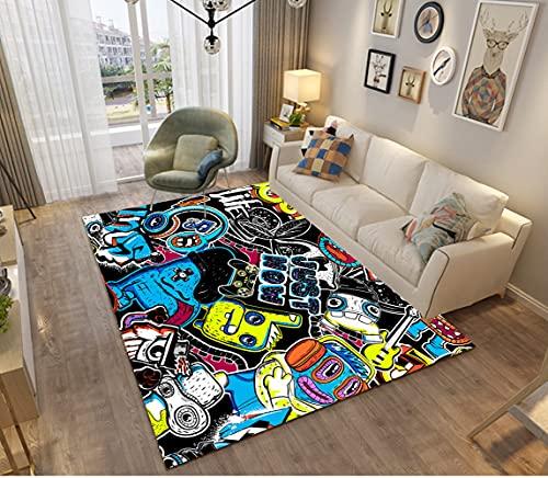 Tapis Chambre Gamer 3D Manette Ado Enfant Garcon, Tapis De Salon Antiderapant Graffiti Console De Jeu Décoration Tapis Poil Ras Flanelle Tout Doux Moderne Noir Bleu Vert Couleur (100x150 cm,colore)