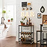 VASAGLE Servierwagen, Küchenwagen auf Rollen, mit Ablagen, Glas- und Flaschenhaltern, 60 x 40 x 75 cm, Industrie-Design, vintagebraun-schwarz LRC087B01 - 2