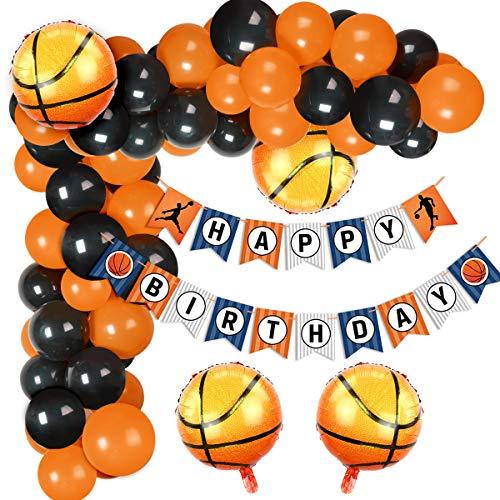 Decoraciones para fiestas de baloncesto Conjunto de arco de globos con globos de lámina de baloncesto, globos de látex Banner de feliz cumpleaños para graduación de Baby Shower de cumpleaños