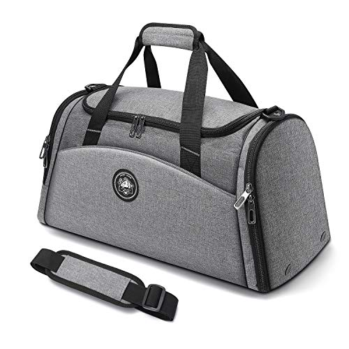 FitBeast Sports Gym Bag with Shoes Cabinet & Wet Pocket, 35L Duffel Bag with 9 Compartments, Big Capacity Holdall with Shoulder Strap for Gym, Sports, Travel, Swimming for Men & Women (Grey)