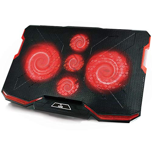 AAB Cooling Ventus - laptop cooling pad met 5 ventilatoren en rode LED-achtergrondverlichting, laptop standaard, laptop onderlegger voor notebooks en PS4/XBOX, notebookstandaard, laptoppad, notebookhouder