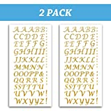 Tassel Toppers Peel and Stick Glitter Alphabet Letter Stickers for Grad Cap - Assorted Colors (Gold)