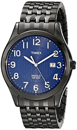 Timex Men's T2P203 Woodcrest Drive Black Stainless Steel Expansion Band Watch