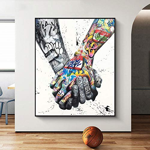 N / A Canvas Painting Printed Decorative Paintings Street Graffiti Tattoos Hand Painting Prints on Canvas Wall Art Poster Home Decorative Picture for Living Room Decor 20x28inch