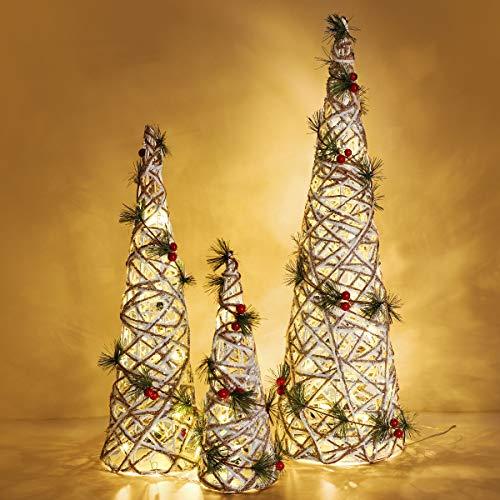 Luxspire LED Pyramide Kegelform Lichter, 3 Stück Advent Deko Leuchte Gewunden Reben Laterne mit Beeren und Timer Weihnachtslicht für Hause Weihnachten Dekoration Innen Außen Beleuchtung, Weiß Graun