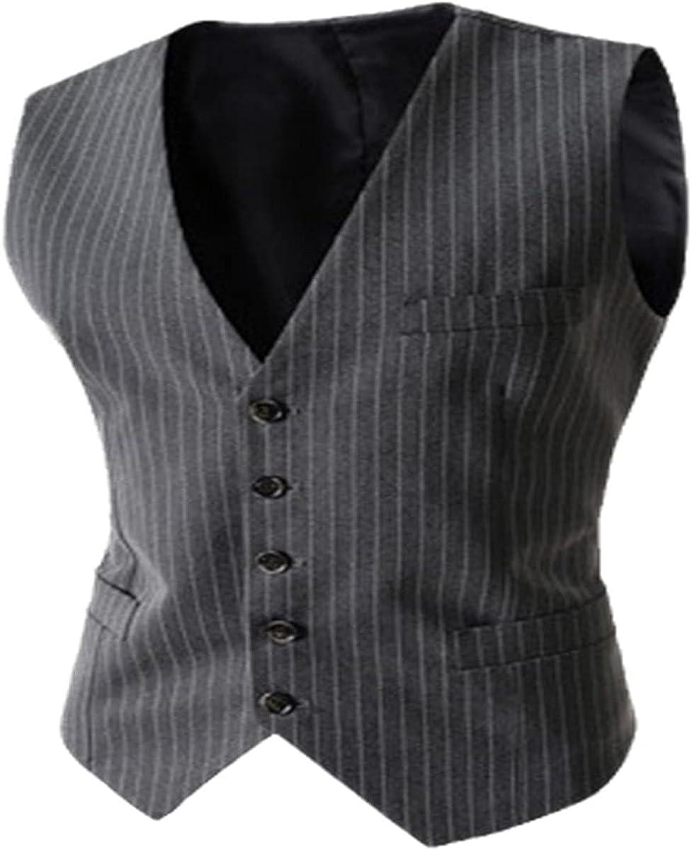 Men's suit vest formal casual slim-fit business jacket vest striped single-breasted undershirt vest