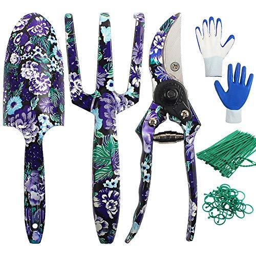 Ansoyi Gartenwerkzeug Set,6-teiliges Gartenarbeit Werkzeug, Robuste Aluminium-Gartengeräteset mit Handkelle, Handrechen, Schaufel,Handschuhe,Gartengeschenk zum Geburtstag Eine ältere Dame Frauen