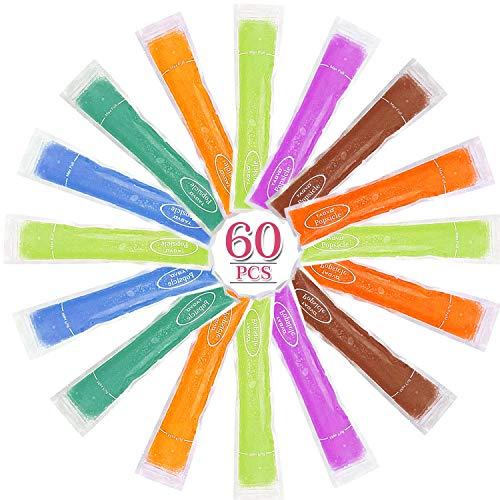 TAGVO 60 Packung EIS Pop Form, gesunde hausgemachte Snack, Gefrierschrank Pop, Gogurt, EIS-Süßigkeit, BPA frei und FDA genehmigt Popsicle Maker mit Ziplock (60 Pack Set)