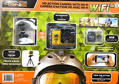 Explore 1234130 HD actiecamera met 8 GB Micro SD-kaart, waterdichte tas, statiefhouder en wifi, geel