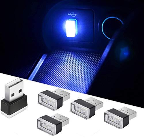 CTRICALVER 5 mini luces USB para automóvil, luces interiores universales USB inalámbricas, luces interiores LED portátiles, se pueden usar en automóviles, computadoras portátiles (azul)