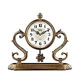 UWY Reloj de repisa con Chimenea de péndulo PM Reloj de Mesa Retro de Cobre Chapado en Silencio, Funciona con Pilas, Regalo de decoración, presupuesto (Color: Latón) Relojes de repisa