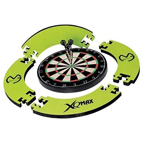 XQMAX Tournament Dart Set, inkl. Bristle Dartboard, 6 Steel Dart, Surround grün, Abwurflinie