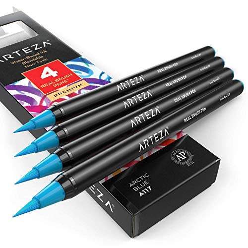 Arteza Real Brush Pens (A117 Arctic Blue), Pack of 4, for Watercolor Painting with Flexible Nylon Brush Tips, Paint Markers for Coloring, Calligraphy and Drawing