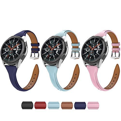 Correa de reloj de piel con hebilla de acero inoxidable para Samsung Galaxy Watch 46 mm Gear S3 Classic y Frontier para mujer