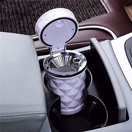 Black & White Auto asbak LED Light aansteker met Light Car Cup Auto accessoires ashtray (Color : White)