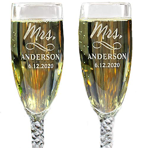 Personalized MRS and MRS Same Sex Wedding Glass Champagne Toasting Flutes, Reception or Engagement, Engraved Customized Glasses for Lesbian Couple, Set of 2