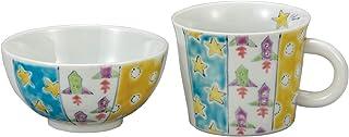 色絵九谷 遊 子ども用食器セット ホワイト コドモノ器 茶碗&マグカップ ロケット k6-3086