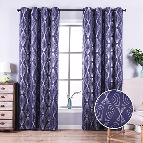 Anjee 84 Inch Blackout Curtains for Living Room with Foil Print Diamond Pattern, Thermal Insulated Window Drapes for Light Blocking, 52 x 84 Inch, Navy Blue