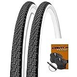 KENDA Set: 2 x K146 Fahrrad Trekking Reifen schwarz-weiß 37-622 + Conti SCHLÄUCHE Rennradventil 28'