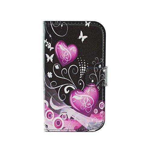 Qiaogle Telefono Case - Custodia in Pelle PU Basamento Custodia Protettiva Cover per Samsung Galaxy Grand Neo i9060 / Grand Neo Plus i9062 (5.0 Pollici) - HY12 / Pink Balloons Love Heart
