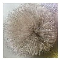 MIYU 13〜15センチメートルふわふわポンポン付きボタン毛皮ポンポンPOMS玉自然毛皮ポンポンのためにスカーフ帽子バッグ (Color : Khaki 13cm)