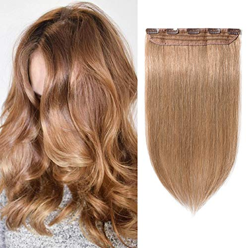 S-noilite 16 Inch One Piece Clip in Human Hair Extensions 3/4 Full Head 5 Clips 45g #27 Dark Blonde