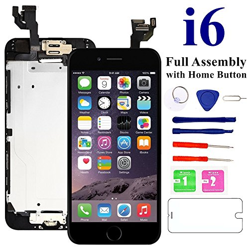 Nroech LCD Screen Replacement for iPhone 6 (Black) with Home Button, Full Assembly with Front Camera, Ear Speaker and Light/Proximity Sensor, Repair Tools and Free Screen Protector Included.
