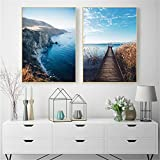 Sunset Cloud Mountain Seascape Wave Posters Decoración Inicio Lienzo Pintura Imprimir Arte de la Pared Imagen Sala de Estar 2 Piezas 70x90cm / 27.5'x35.4 Sin Marco