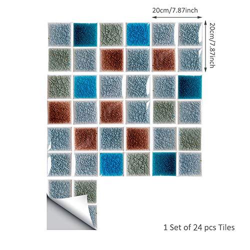 ENCOFT 24pcs 20x20cm Adesivi per Piastrelle in PVC, Mattonelle Adesive per Bagno Cucina, Impermeabile Fai da Te Multicolore