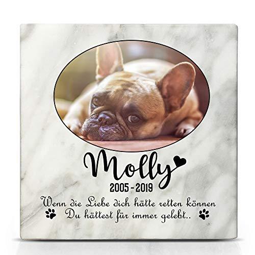 TULLUN Individueller Personalisierter Weißer Natur Marmor Gedenkstein für Hunde, Katze und andere Haustiere - Größe 10 x 10 cm - Ovales Foto