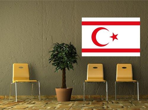 Kiwistar Wandtattoo Sticker Fahne Flagge Aufkleber Nordzypern 120 x 80cm