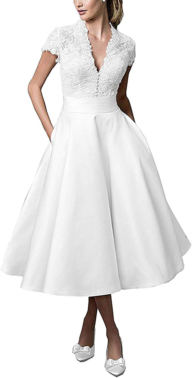 Wedding Dresses for Bride 2019 Beach Bridal Dress with Short Sleeves Lace Wedding Gowns for Women