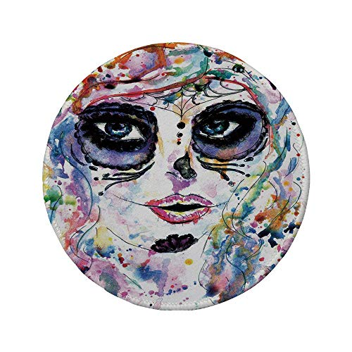 Alfombrilla de ratón Redonda de Goma Antideslizante decoración de Calavera de azúcar niña de Halloween con Maquillaje de Calavera de azúcar Estilo de Pintura de Acuarela Espeluznante Decorativo MUL