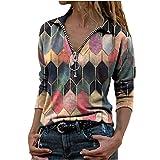 riou Blusas y Camisa Mujer Moda Solapa Estampado Geométrico Cremallera Manga Larga Blusa Casual Tops Suéter Suelta Tallas Grandes Otoño Invierno