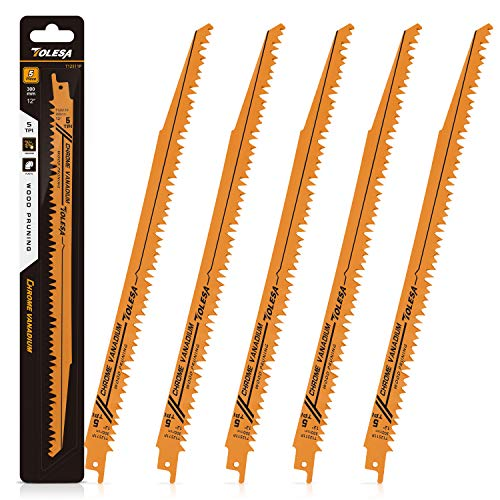 TOLESA Reciprocating Saw Blade for Wood Pruning for Sawzall Saw CRV 12-Inch 5TPI - 5 Pack
