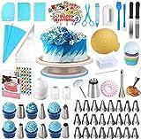 AUKOW - Kit da pasticceria professionale, 254 pezzi con vassoio girevole per torta, beccucci da pasticceria, spatole, kit di decorazione per torte