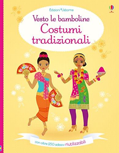 Costumi tradizionali. Vesto le bamboline. Con adesivi