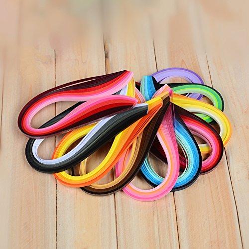 900 Papier-Streifen, Quilling-Streifen-Sets (Breite 3 mm/5 mm/7 mm/10 mm, Länge 39 cm) 5 mm Schwarz/Blau/Braun/Grün/Orange/Violett/Rot/Gelb