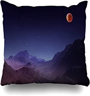 Ahawoso Throw Pillow Cover Pillowcase Eclipse Blue Rendering Total Lunar On Astronomical Science Abstract Astronomy Design Home Decor Square 20x20 Zipper Cushion Case