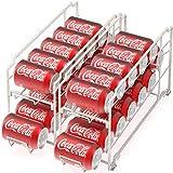 2 Pack - Simple Houseware Stackable Beverage Soda Can Dispenser Organizer Rack, White