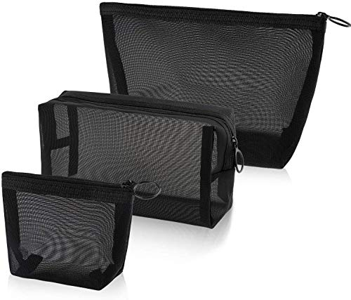 CASTELBELBO Cosmetic Bag for Offices Travel Accessories Mesh Mesh Makeup Bags Mesh Zipper Pouch, Black 3 Sizes (3 Pieces)