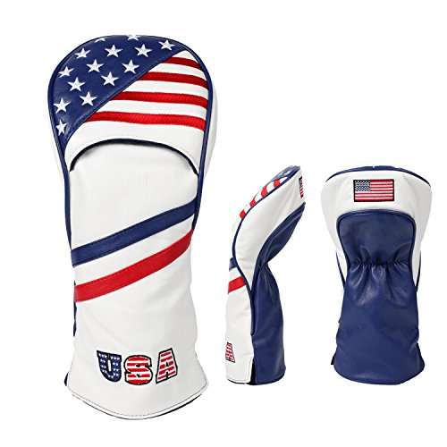 SummerHouse Premium Golf Wood Covers-USA Flag Portable Style with Soft Waterproof PU-Compatible with Taylormade Titleist PXG Callaway Cobra Mizuno Ping Driver Fairway Hybrid Clubs Head